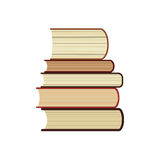 Five books stack flat icon, study library or bookstore symbol, books pile  with long shadow illustrations Stock Images