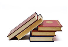Five books to read. Some books isolated on a white background stock photography