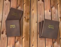 Five books of the Torah. 3D render of The five books of Moses in leather cover and golden writing in Hebrew vector illustration