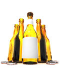 Five botles of beer Royalty Free Stock Photos