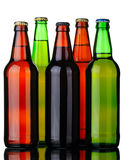 Five bottles of beer Royalty Free Stock Photos