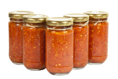 Five Bottles of Chilli Preserve known as Mazavaroo Stock Photo