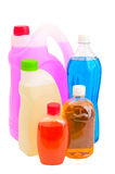 Five bottles with with liquid chemicals Stock Images