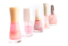 Five bottles of nail varnish Royalty Free Stock Photography