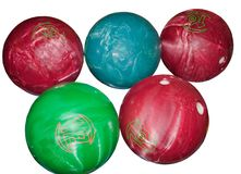 Five bowling balls isolated on white Stock Images