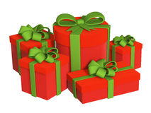 Five boxes with gifts, fastened by tapes Royalty Free Stock Photos