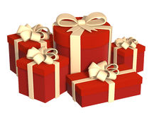 Five boxes with gifts, fastened by tapes Stock Photography