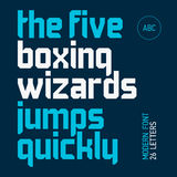 The five boxing wizards jump quickly. Modern font. Stock Photography