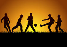 Five boys and sport Stock Images