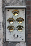Five Brass Doorbells Stock Photography