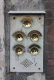 Five Brass Doorbells Stock Photography