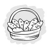 Five Bread And Two Fish in A Basket Line Art Royalty Free Stock Images