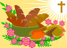 Five breads and two fishes. Bible story illustration of five breads and two fishes vector stock illustration