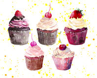 Five bright beautiful tender delicious tasty yummy summer dessert cupcakes with red cherry strawberry and raspberry on yellow spra. Y watercolor hand Stock Photos
