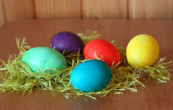 Five bright easter eggs Royalty Free Stock Photos
