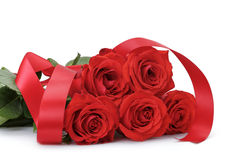 Five bright red roses isolated on white Stock Image