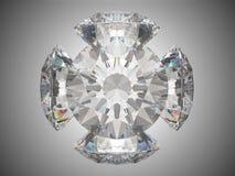 Five brilliant cut diamonds. Or gems. Over grey background stock illustration