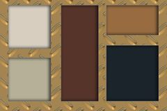 Five multicolored rectangles and golden metallic background stock illustration