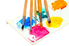 Five brushes for painting watercolors on a palette with paints on a white background Royalty Free Stock Image