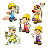 Five builders set. Vector illustration of a five builders set Royalty Free Stock Images