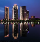 Five building during bluehour. This five building located at putrajaya malaysia during bluehour royalty free stock photography