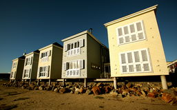 Five Buildings. Five beach buildings at sunset Stock Images