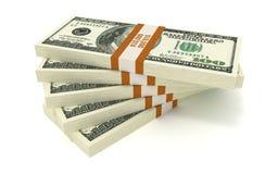 Five Bundles of 10000 Dollars Royalty Free Stock Photos