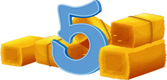 Five bundles of hays Stock Images