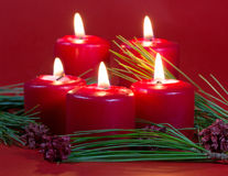 Five Burning Candles Royalty Free Stock Images