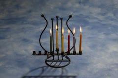 Five burning Hanukkah candles in Menorah Stock Photos