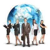 Five business person standing wedge. Earth as. Backdrop. White background. Elements of this image furnished by NASA Royalty Free Stock Images