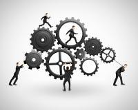 Five businessman runs  gears Stock Image