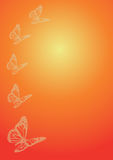 Five butterflies on orange background Royalty Free Stock Photography