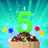 Five Candle On Cupcake Means Happiness And. Five Candle On Cupcake Meaning Happiness And Celebration Stock Photo