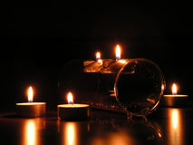 Five candles: romantic mood. Candles in the night stock images