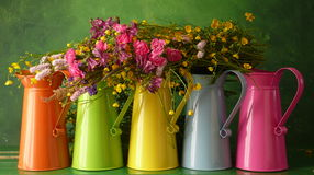 Five cans. Five flower buckets in a row Stock Photography