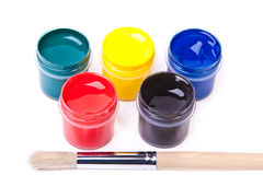 Five cans with bright acrylic paints Royalty Free Stock Photo
