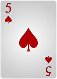 Five card spades poker. Vector five spades card poker with red letters and white card for casino poker Stock Photos