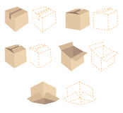 Five cardboard boxes. Five dotted line schemes of boxes Royalty Free Stock Images
