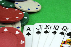 Five cards of the same suit Stock Photo