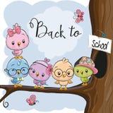 Five Cartoon Birds On The Branch Stock Photos