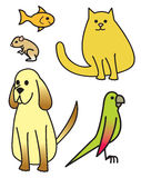 Five Cartoon Pets. Five common house pets drawn in a cartoon style Stock Images