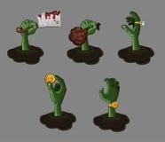 Five cartoon zombie hands Stock Photography