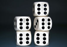 Five casino dices Royalty Free Stock Images