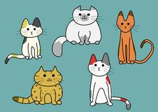 Five cats Royalty Free Stock Photos