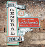 Five Cent Coffee. The General store sign in Jefferson, Texas advertising five cent coffee and a soda fountain royalty free stock image