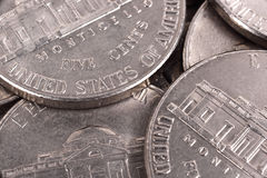 Five cent coins Stock Images