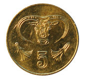 Five cents coin. Bank of Cyprus. 2001 Royalty Free Stock Photo