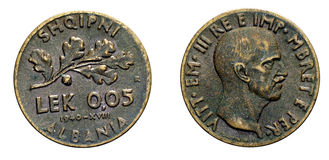 Five 5 cents LEK Albania Colony acmonital Coin 1940 Vittorio Emanuele III Kingdom of Italy,World war II Stock Photos
