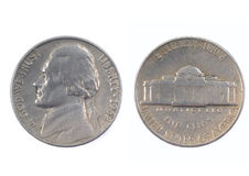 Five cents USA 1962. Both sides of a Five cents USA 1962 royalty free stock image